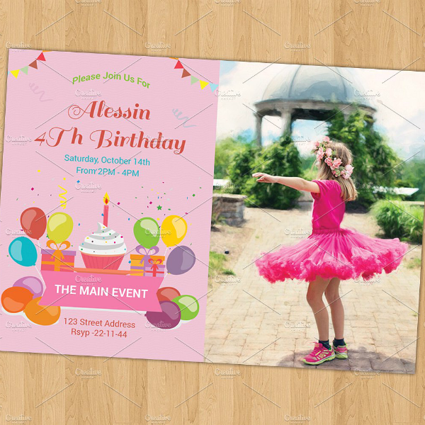 Divided Front Girls Birthday Card Template