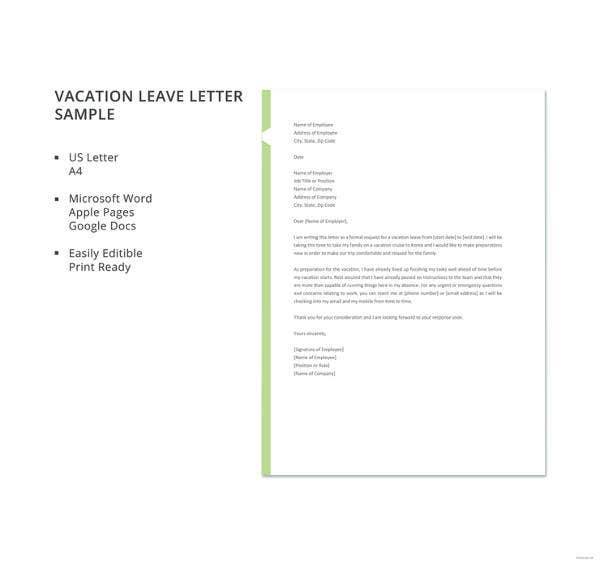 15 vacation letter template free sample example format download vacation leave letter sample altavistaventures Images