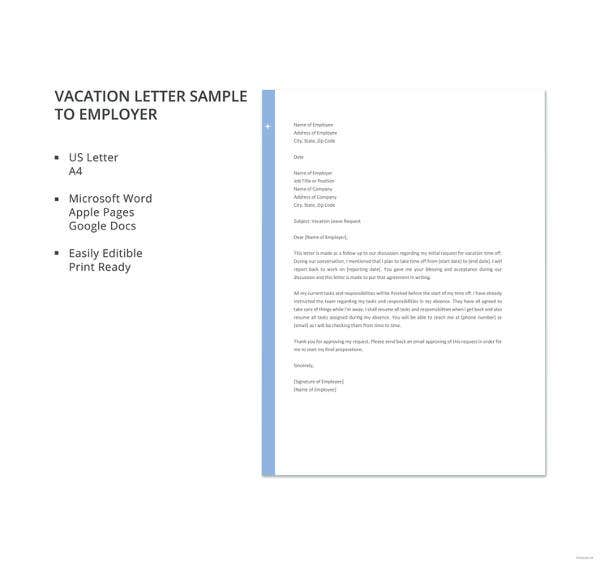 vacation letter sample to employer template