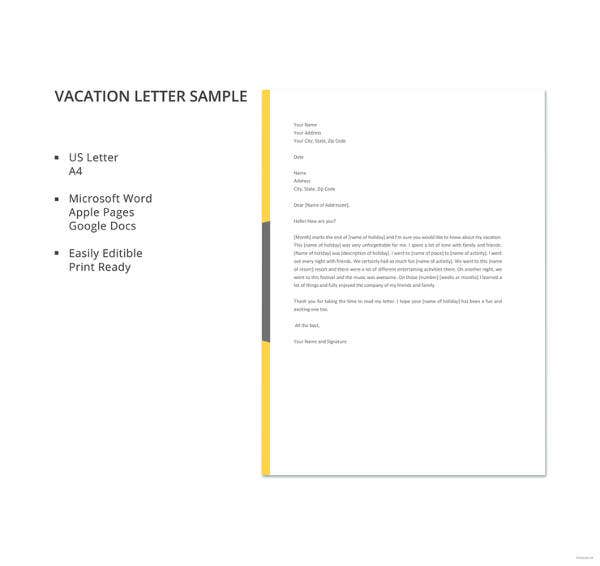 vacation letter sample
