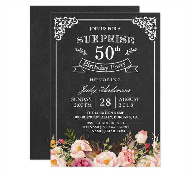 Vintage 50th Birthday Party Invitation Card Design