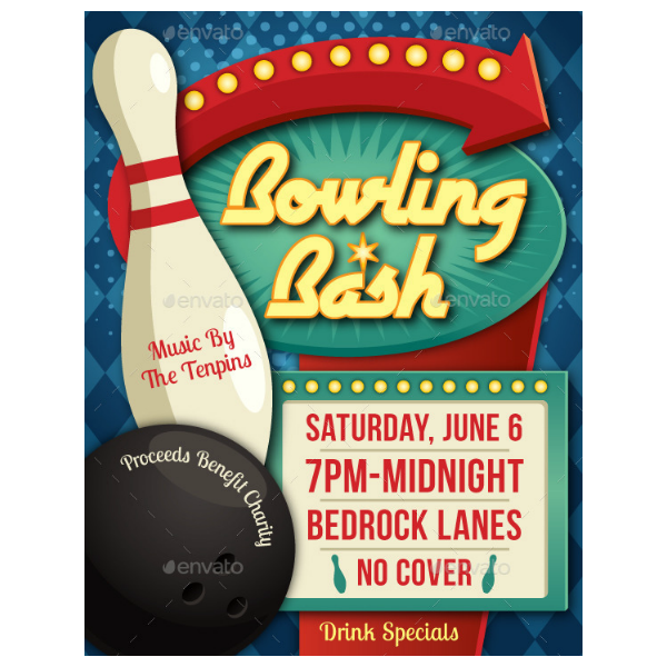 Vintage Bowling Bash Flyer Invitation Template