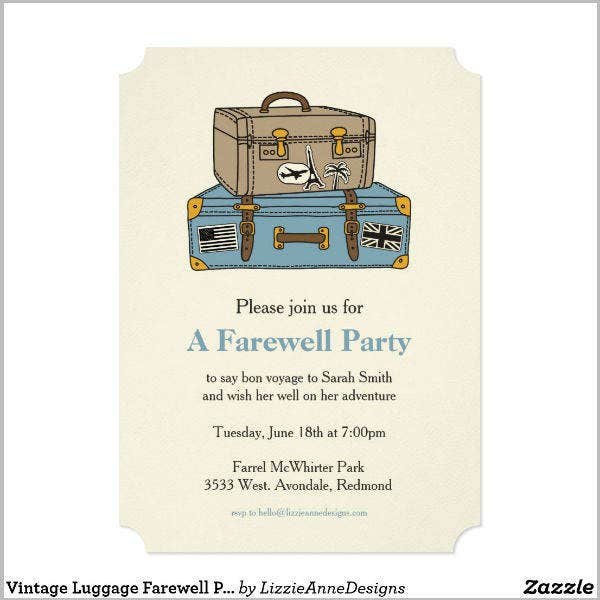 vintage farewell party invitation
