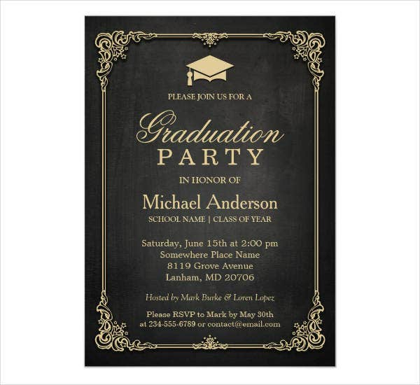 vintage frame graduation party invitation
