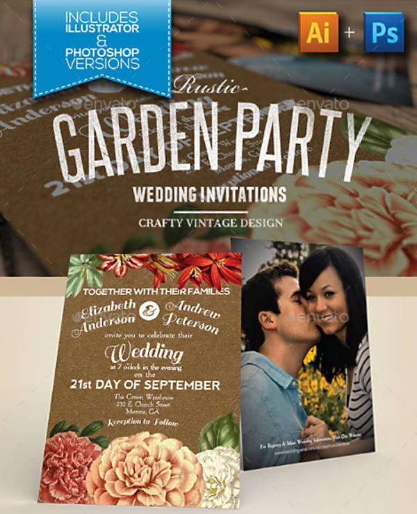Vintage Garden Wedding Invitation Template