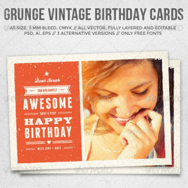 Vintage Personalized Birthday Card Template