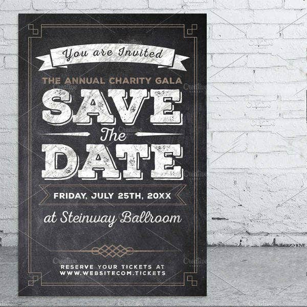 vintage save the date invitation flyer template