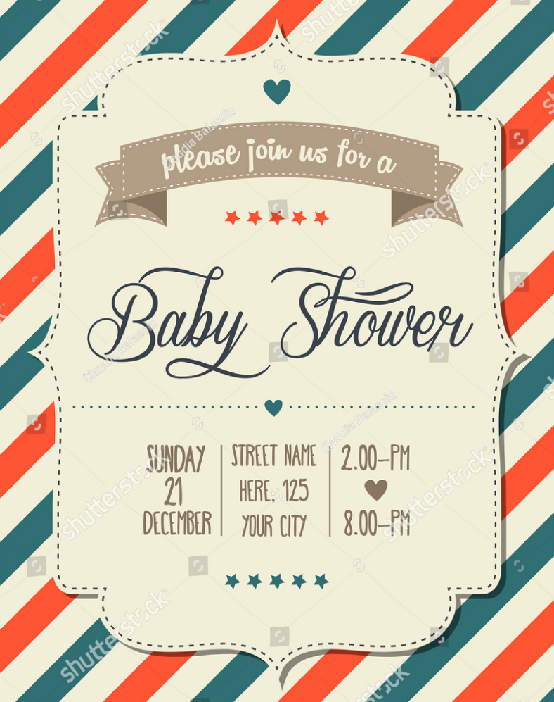 Vintage Stripes Baby Shower Invitation Template