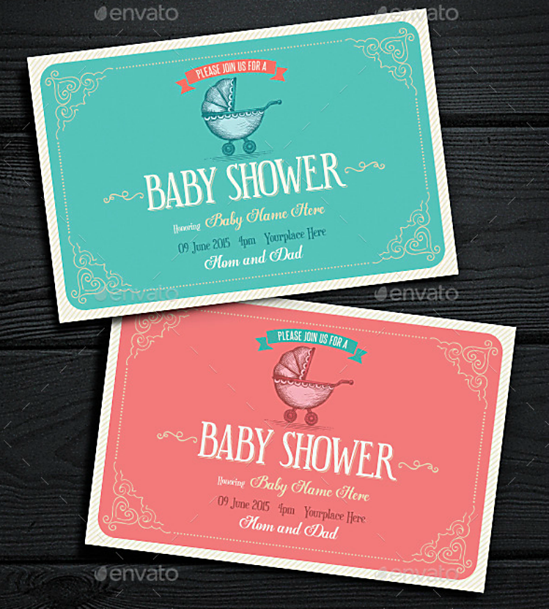 Vintage Style Baby Shower Invitation Template
