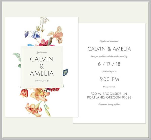 Vintage Style Garden Wedding Invitation Template