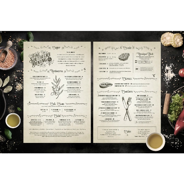 vintage and fancy menu template
