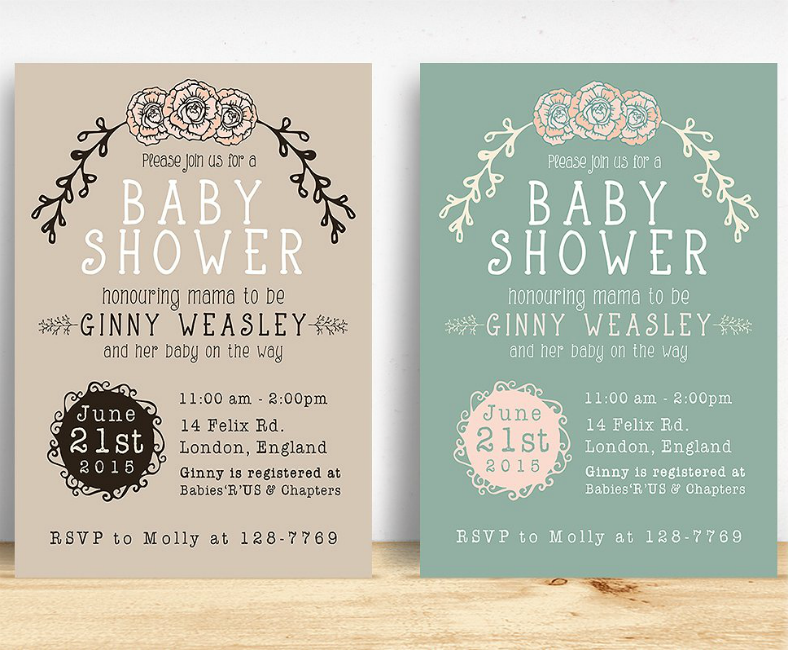 Walnut Green Baby Shower Invitation Template
