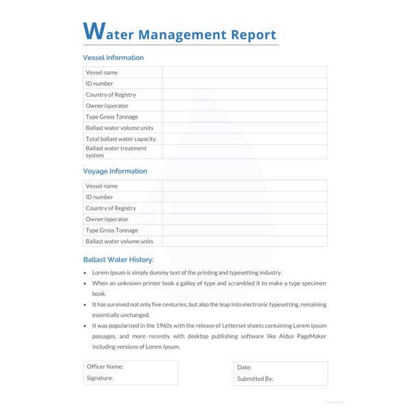 water management report