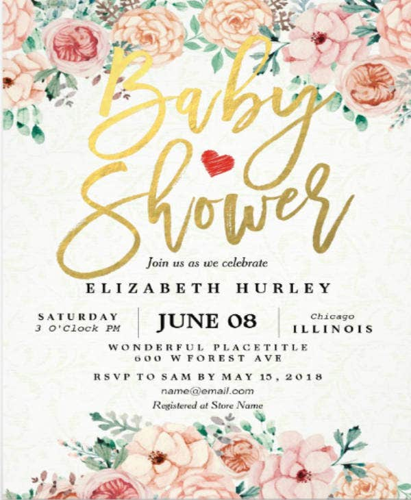 watercolor floral baby shower invite