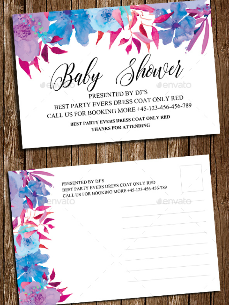 Watercolor Flowers Baby Shower Invitation Template