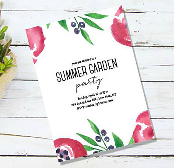 Watercolor Garden Wedding Invitation Template