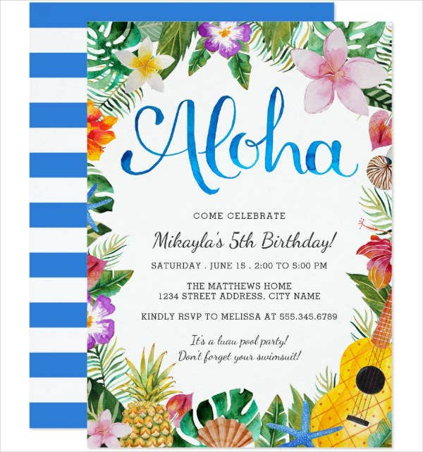 Watercolor Luau Party Invitation Template