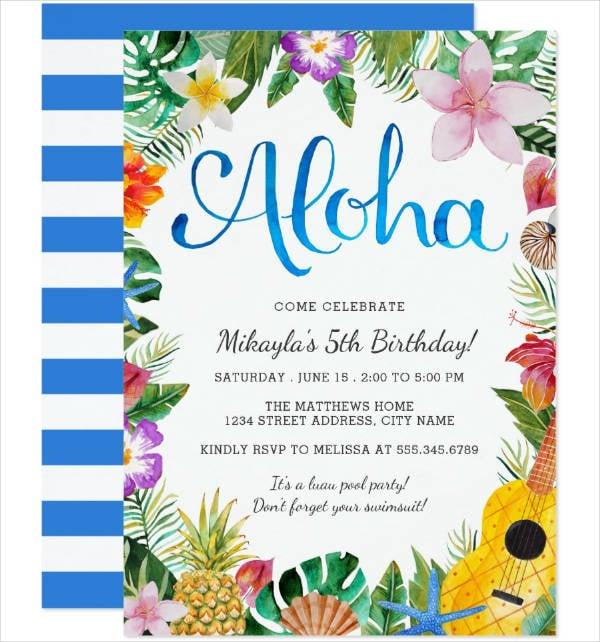 watercolor luau party invitation template