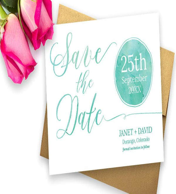 watercolor save the date invitation template
