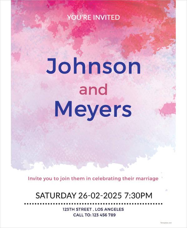 watercolour wedding invitation sample