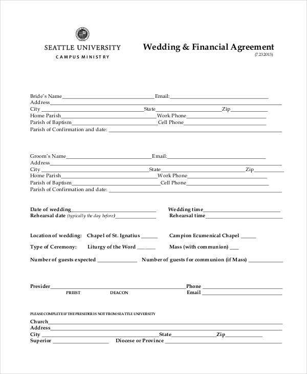 wedding finance agreement