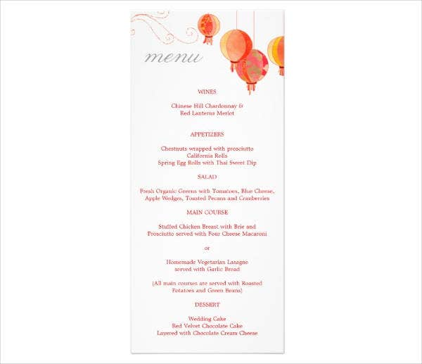 Wedding Reception Chinese Menu Template