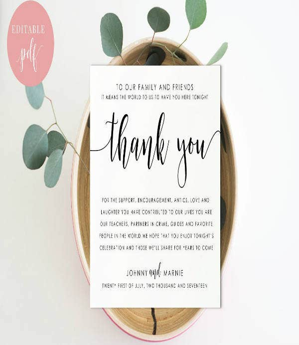 18 modern wedding thank you card designs  templates