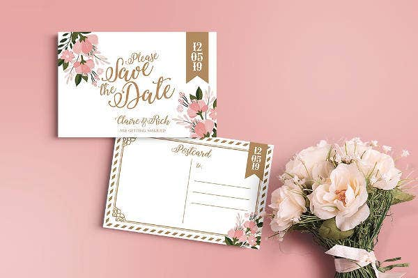 Wedding Save the Date Party Postcard Invitation