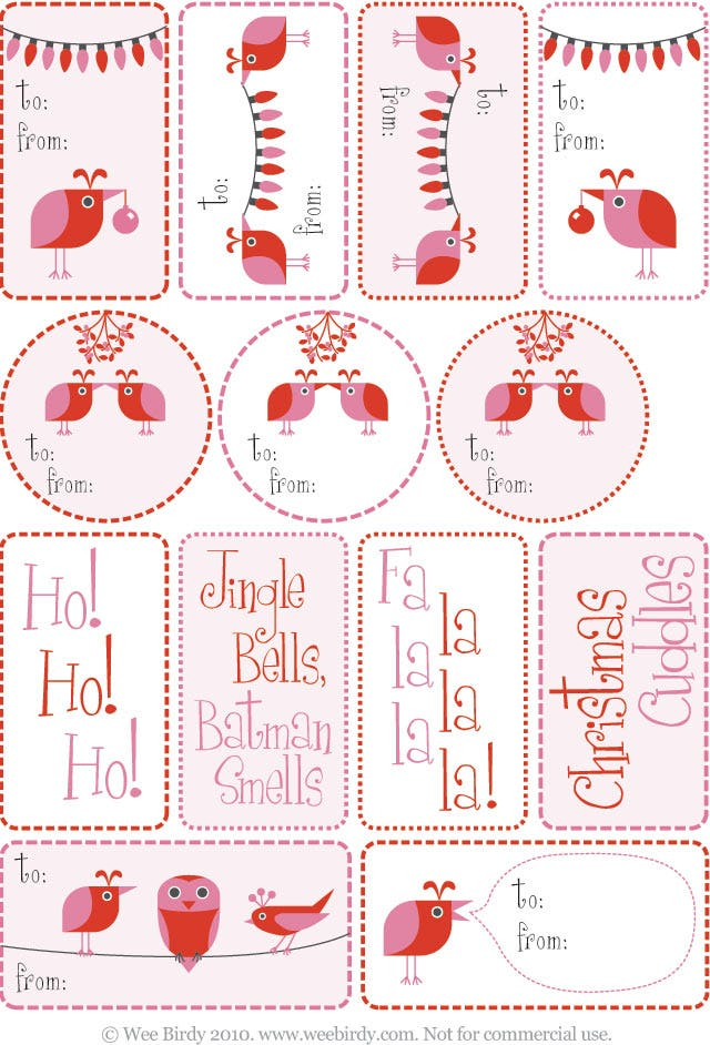 wee birdy chritmas gift tag template