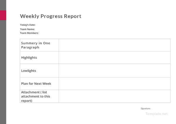 weekly progress report template