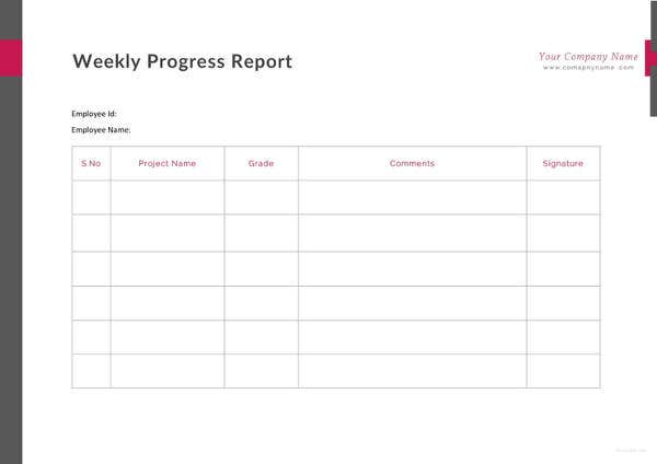 weekly progress report template1