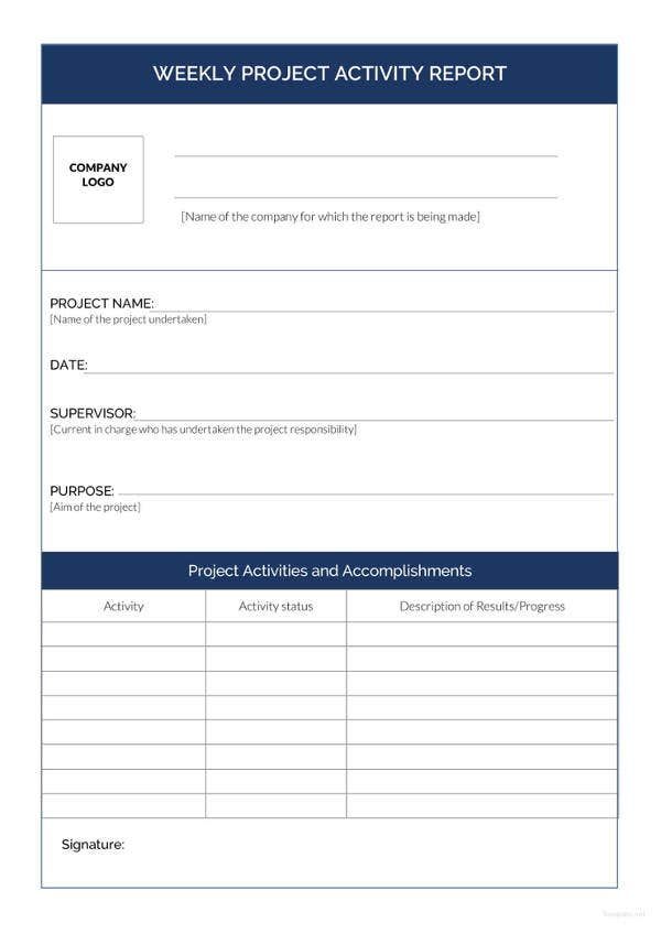 33 Weekly Activity Report Templates