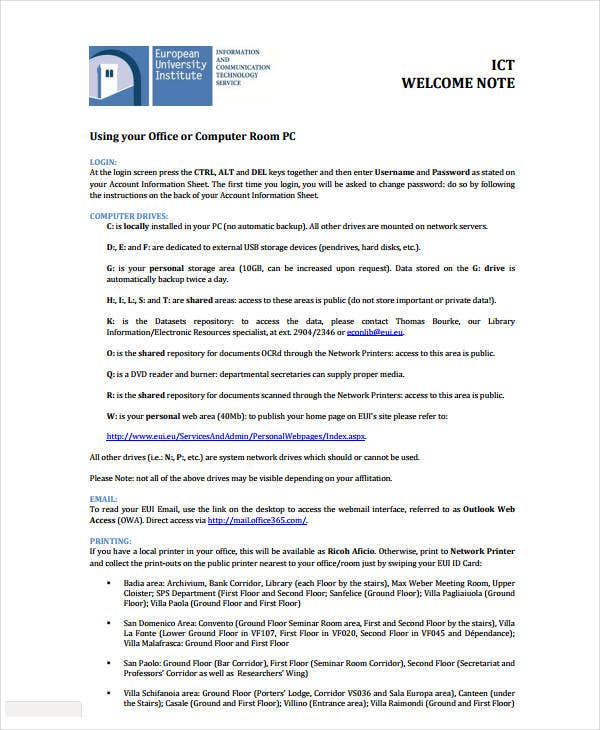welcome note example