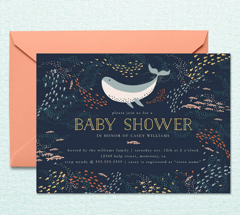 Whale Illustration Baby Shower Invitation Template
