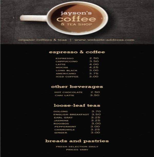 Wood Coffee Shop Menu Flyer Card