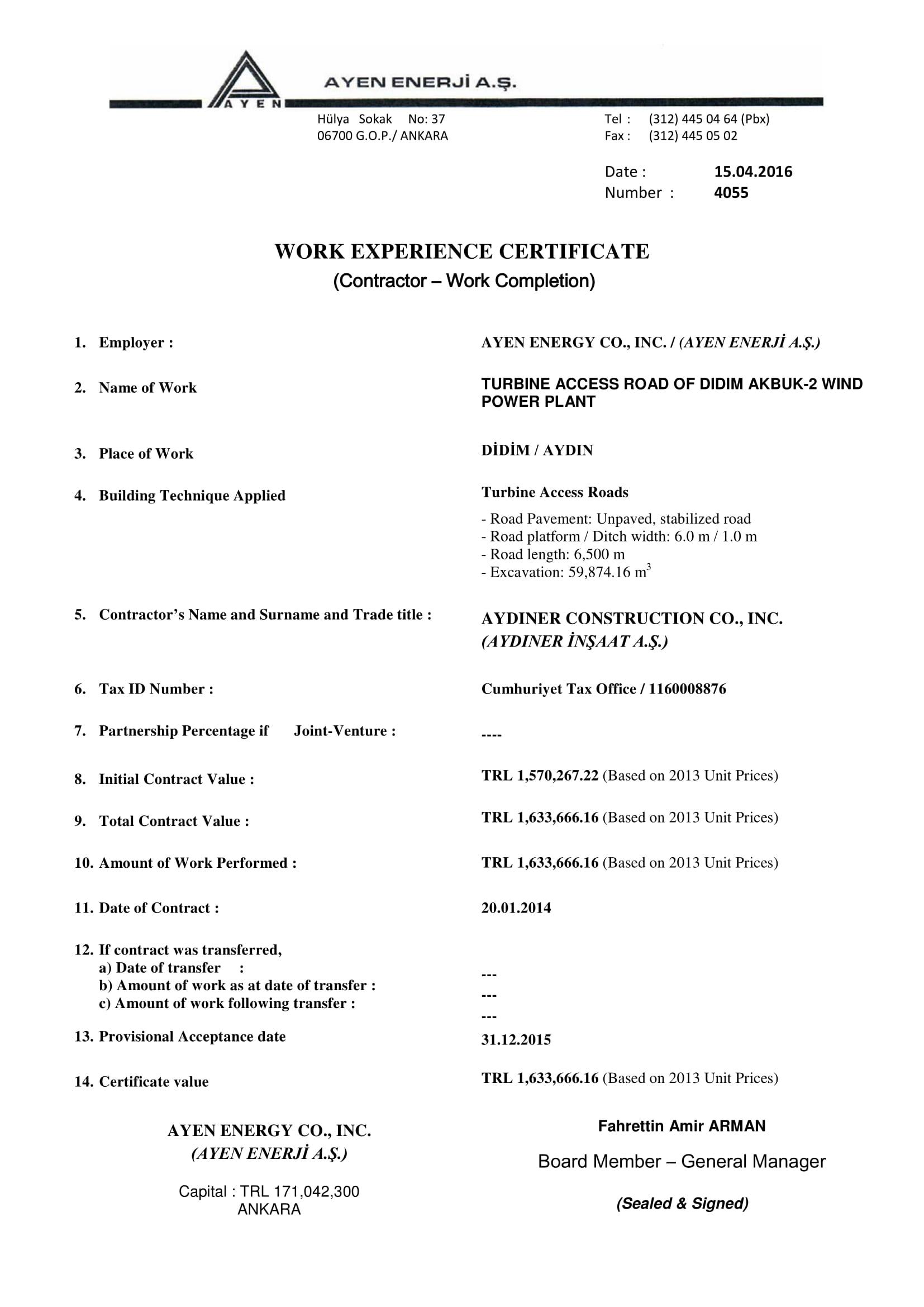 work experience certificate 1