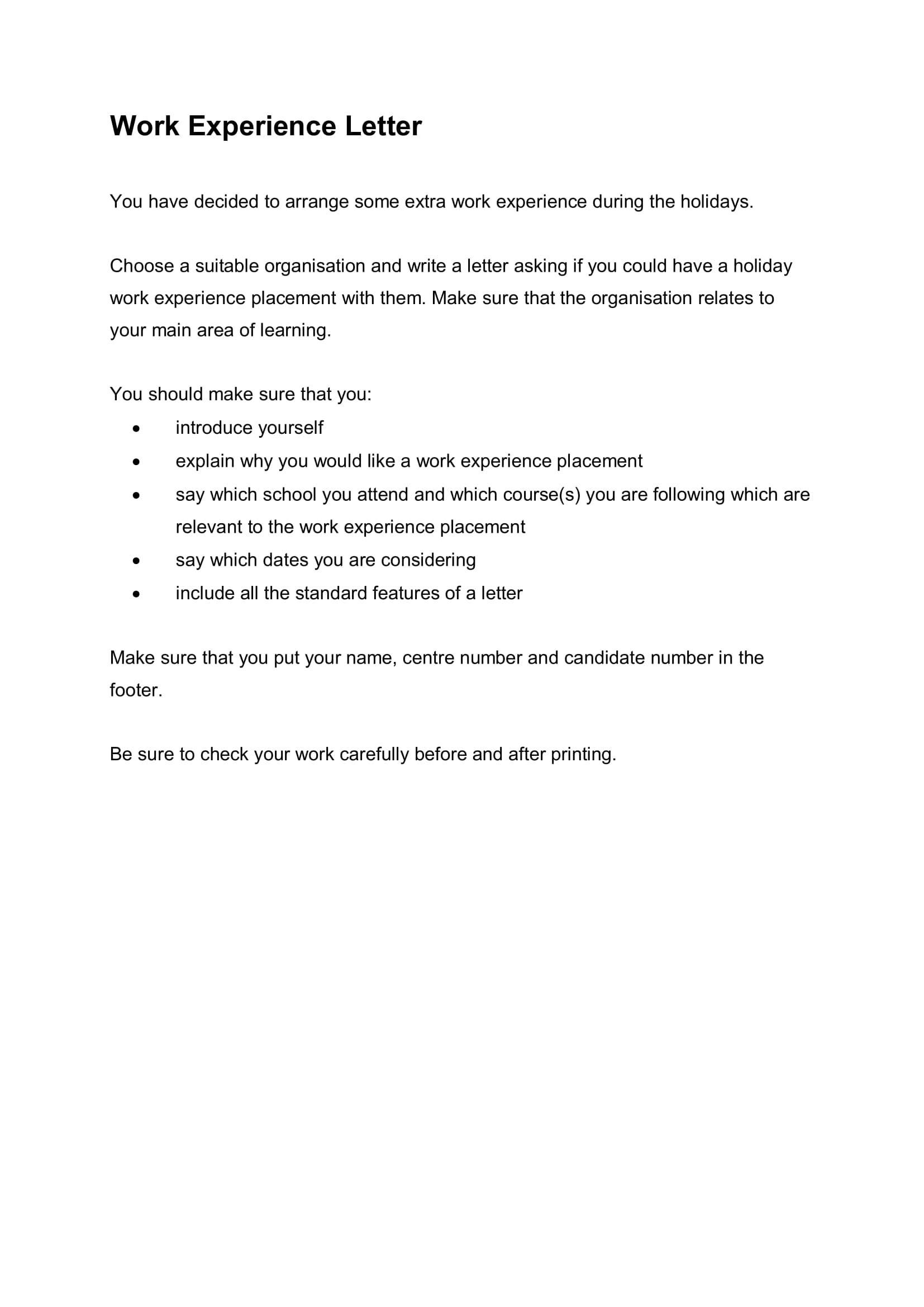 work experience letter sample 1