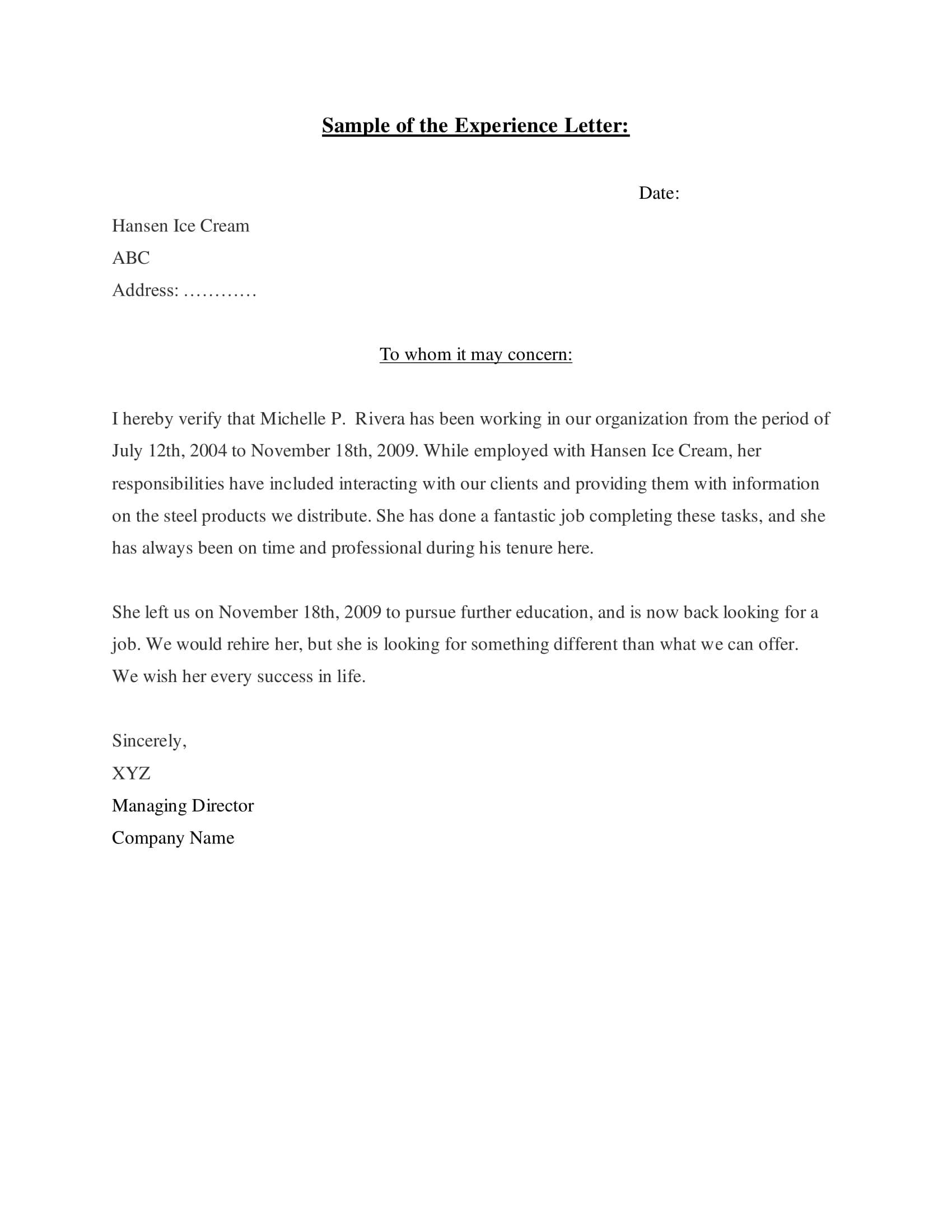 work experience letter sample