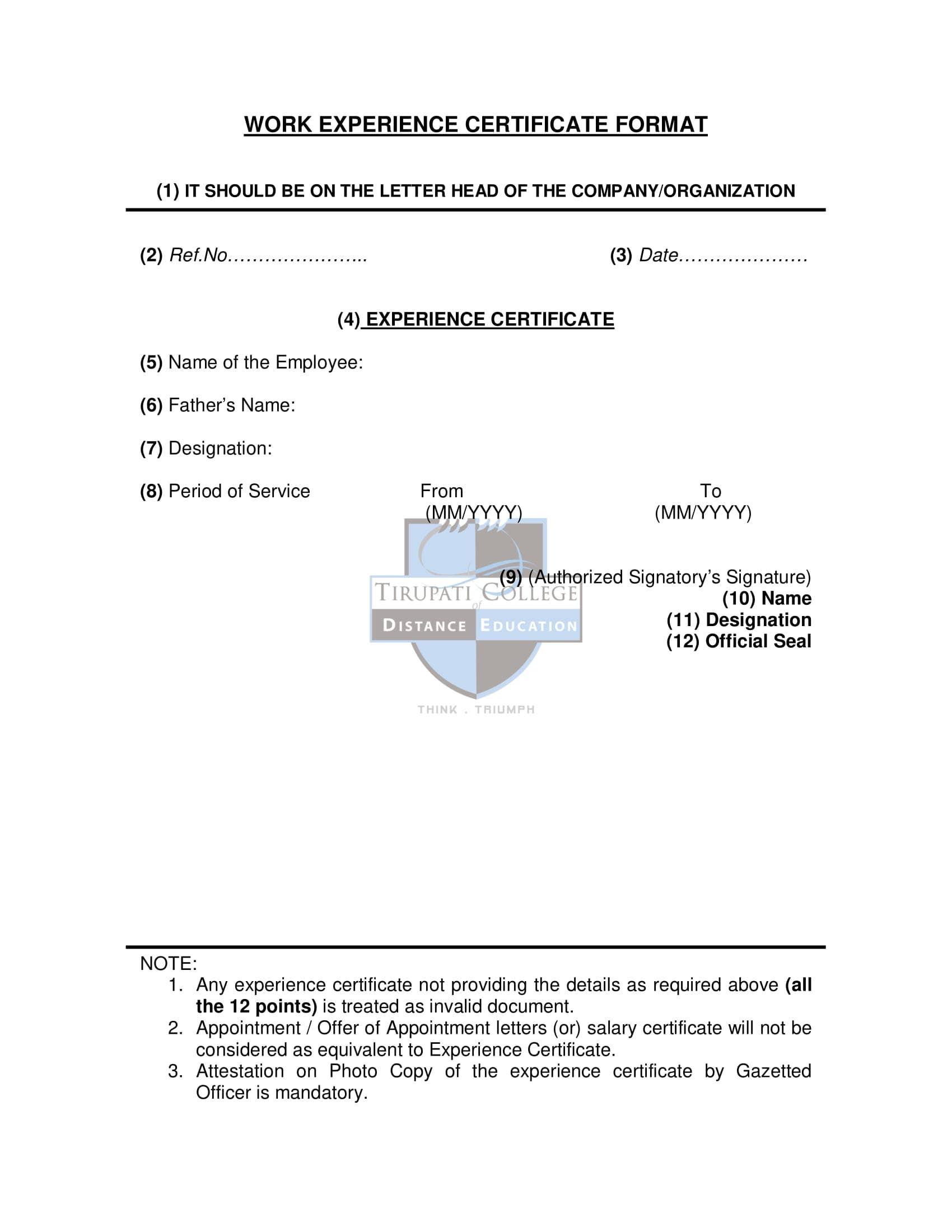 work experience certificate format 1