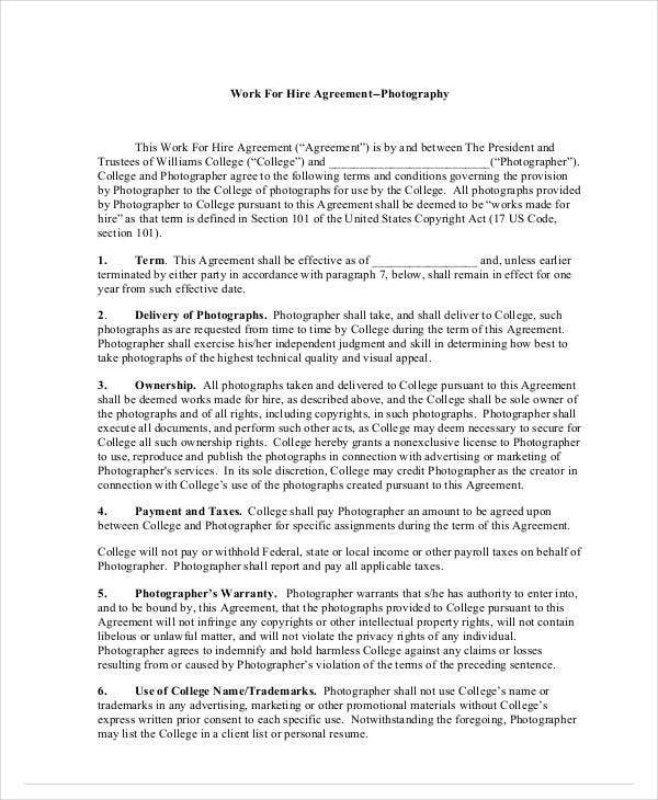 work for hire agreement