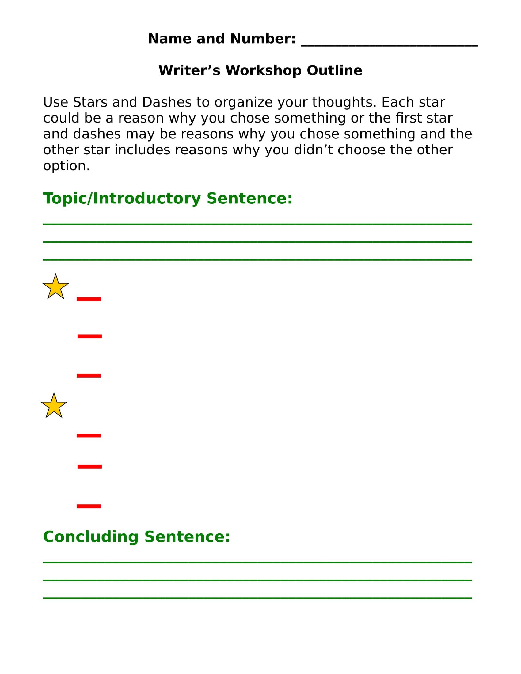 workshop informal outline template