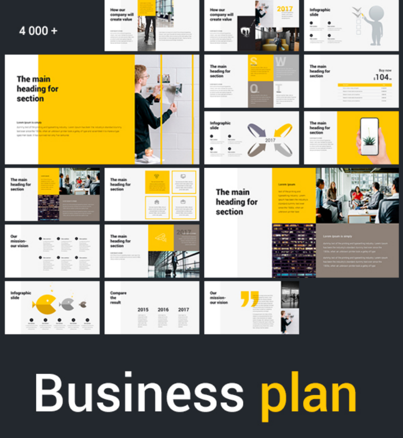 yellow business plan powerpoint presentation 788x857