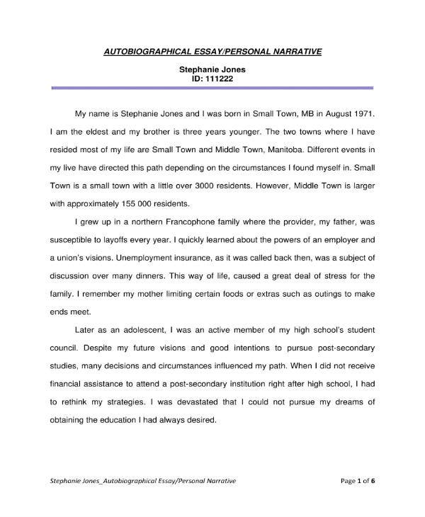 narrative essay templates  pdf  free  premium templates autobiographical personal narrative essay example
