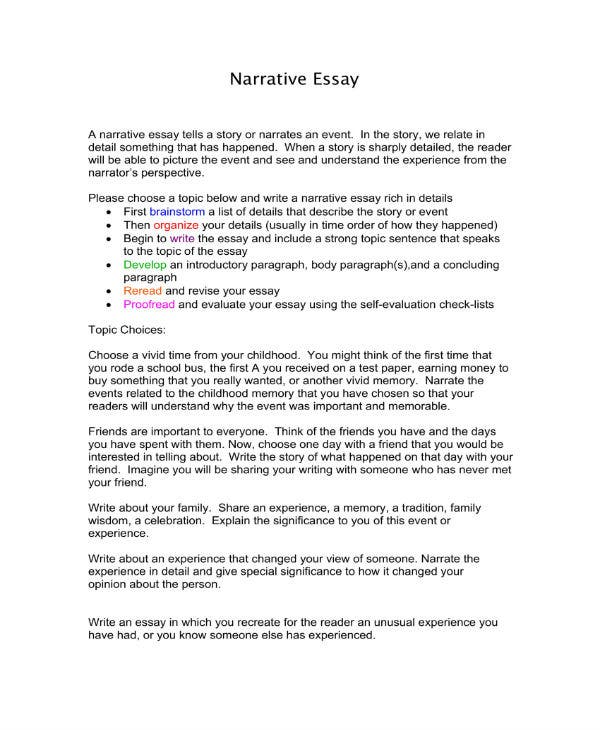 Narrative essay sample