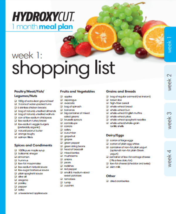 1 month diet meal plan template