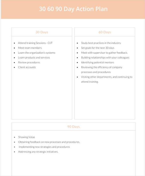 30 60 90 day action plan template