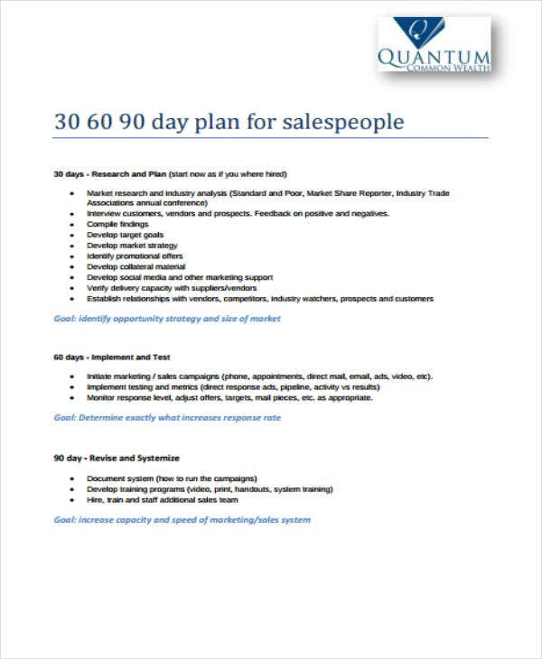 30-60-90 Day Plan For Salespeople