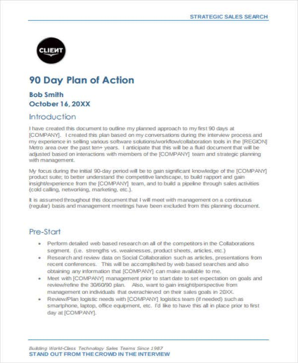 30-60-90 Day Sales Plan Sample