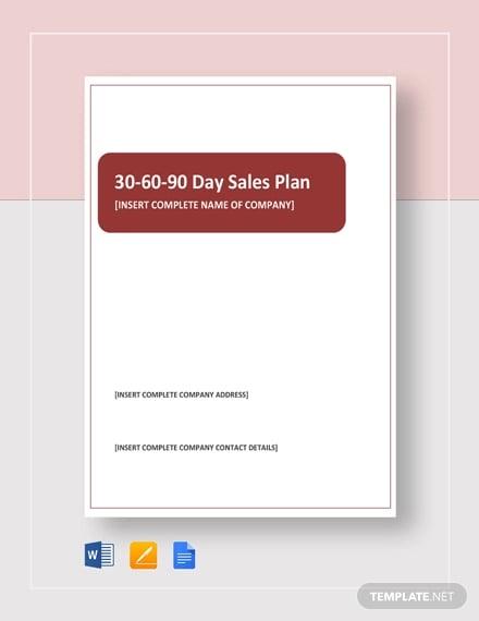 30 60 90 Day Sales Plan1