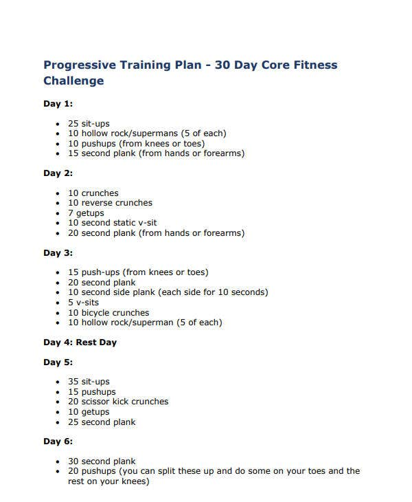 30 day core fitness challenge plan